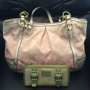 Coach beige and gold purse and wallet